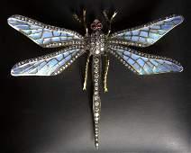 18kt YG Plique A jour Enamel Dragonfly