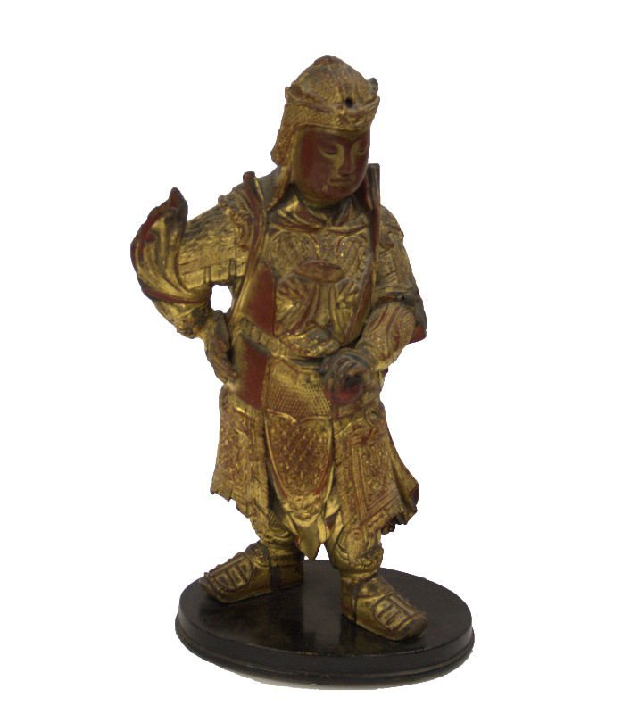ANTIQUE CHINESE GOLD AND RED LACQUERED WOODEN WARRIOR