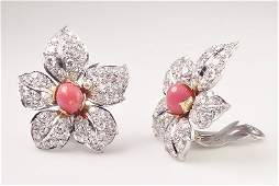 pair of exquisite 1950's conch pearl and diamond