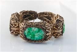Chinese Export Gild Silver Jadeite Jade Bangle Bracele