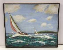 Carmell Oil Painting of Yacht