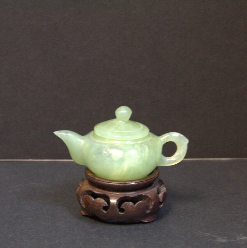 Chinese Carved Jade Miniature Teapot