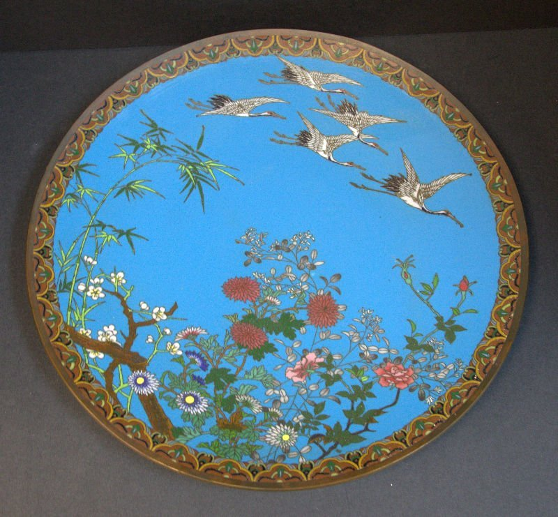 Japanese 19th Cen Blue Cloisonne Plate With Bird Design