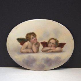Hand Painted Porcelain Oval Plaque