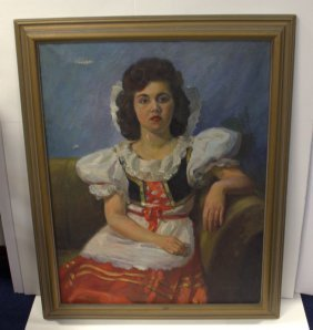 E. Ginger Oil Painting On Canvas Of A Woman