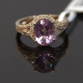 14kt Rose Gold Kunzite & Diamond Ring