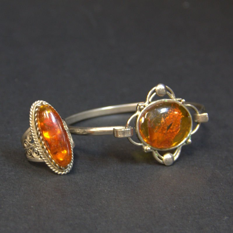 2 PC Silver And Amber Jewelry