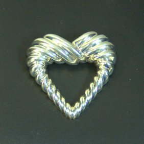 Vintage Tiffany & Co Sterling Fluted Heart Brooch