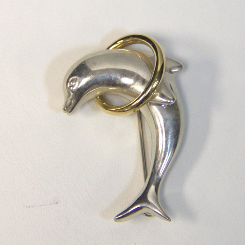 Vintage Tiffany & Co Dolphin Jumping Over 18KT Ring