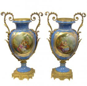 Magnificent Pair Of Sevres Blue Vases