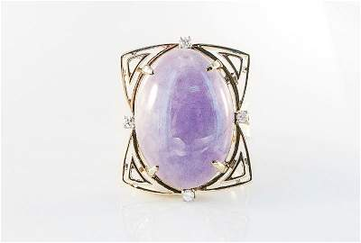 Very Fine 1970's Yellow Gold Lavender Jade Ring