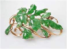 ladies 1950's jadeite jade brooch by Mings