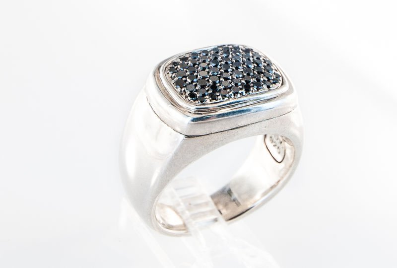 contemporary black diamond signet ring by David Yurman