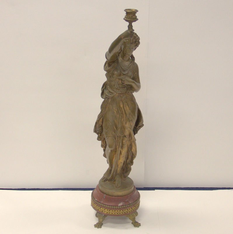 Antique Math. Moreau French Bronze Figure On Marble - 2