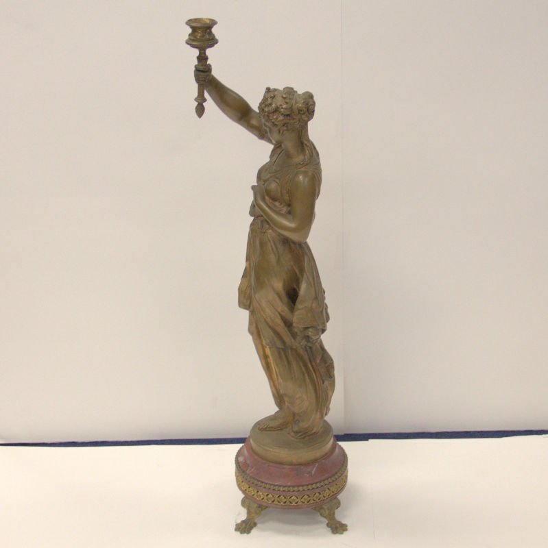 Antique Math. Moreau French Bronze Figure On Marble - 6