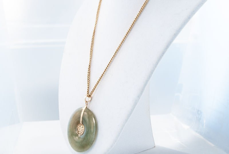 Fine 1950's 14K Nephrite Jade Necklace