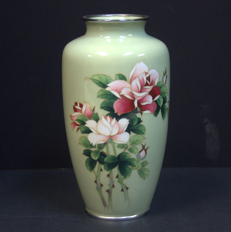 Japanese Cloisonne Light Green Floral Vase