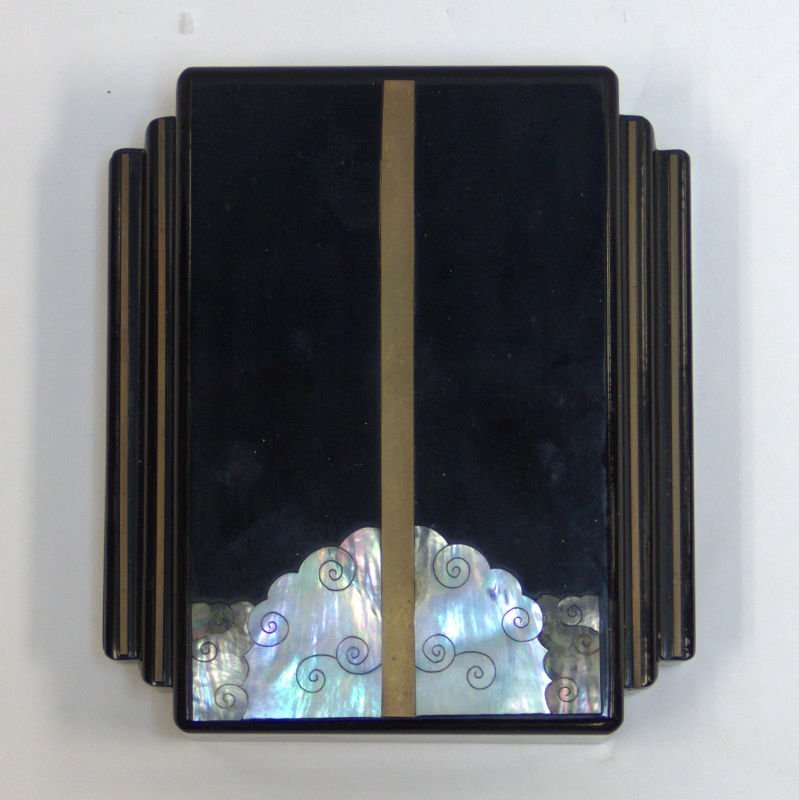 Art Deco Black Lacquer Mother of Pearl Box
