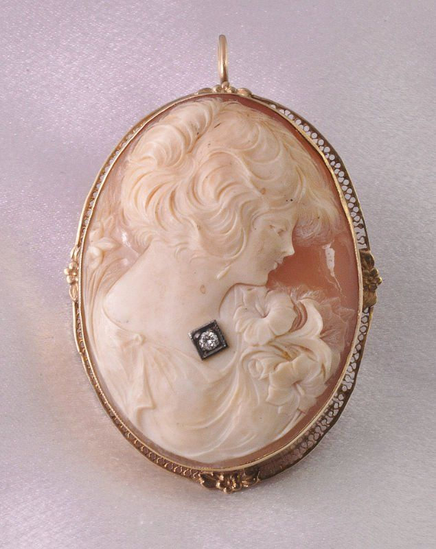 1970's 14K Yellow Gold & Carved Shell Cameo