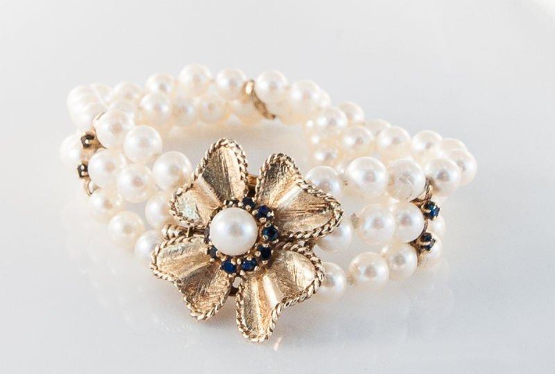 1950's Cultured Pearl & Sapphire Bracelet