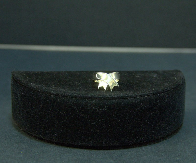 Vintage Tiffany & Co Sterling Overlay Ribbon Ring