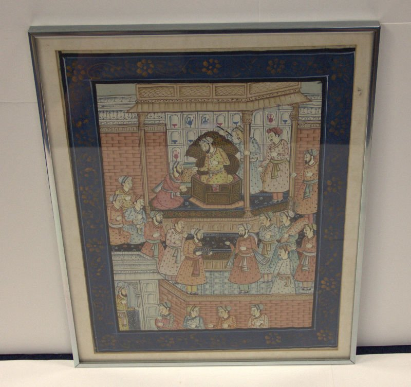 Antique Persian Hand Painted Water Color on Silk
