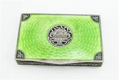 Victorian Austria .925 Sterling Enameled Green Box