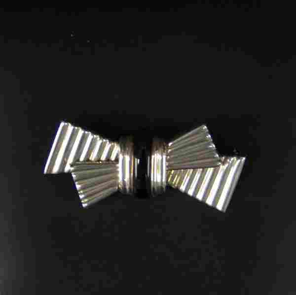 Vintage Tiffany & Co Sterling & Black Onyx Bow Pin