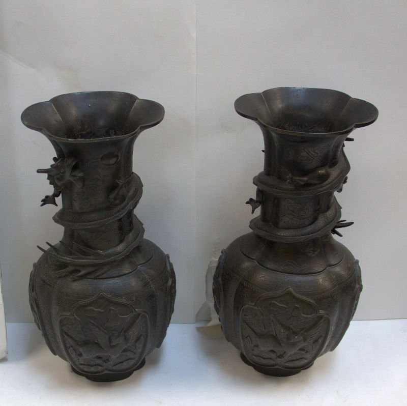 Pair of Chinese Bronze Figural Dragon Vases