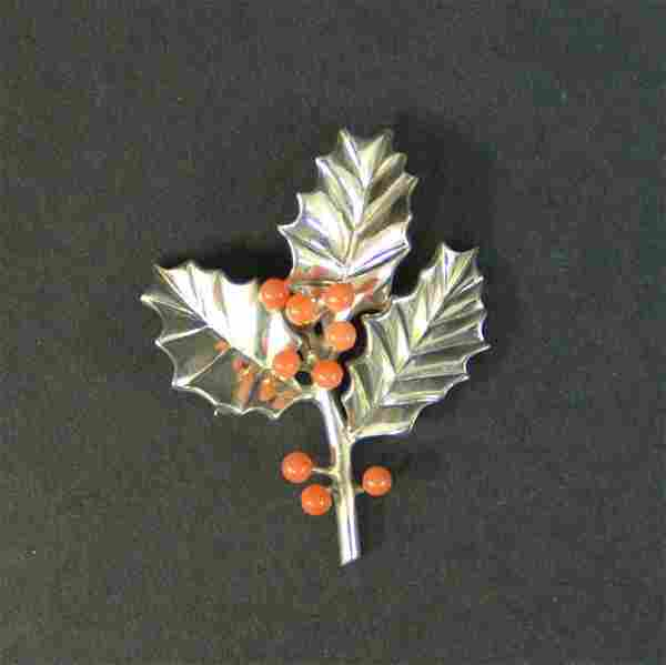 Vintage Tiffany & Co Sterling Holly Brooch With 7