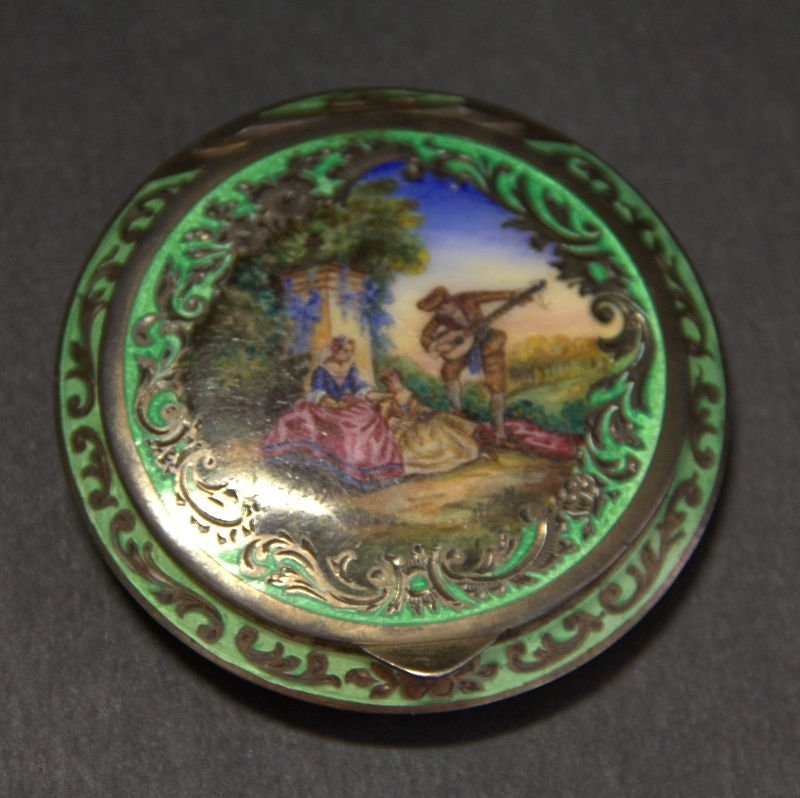 Austrian SS  silver and enamel Guilloche Compact