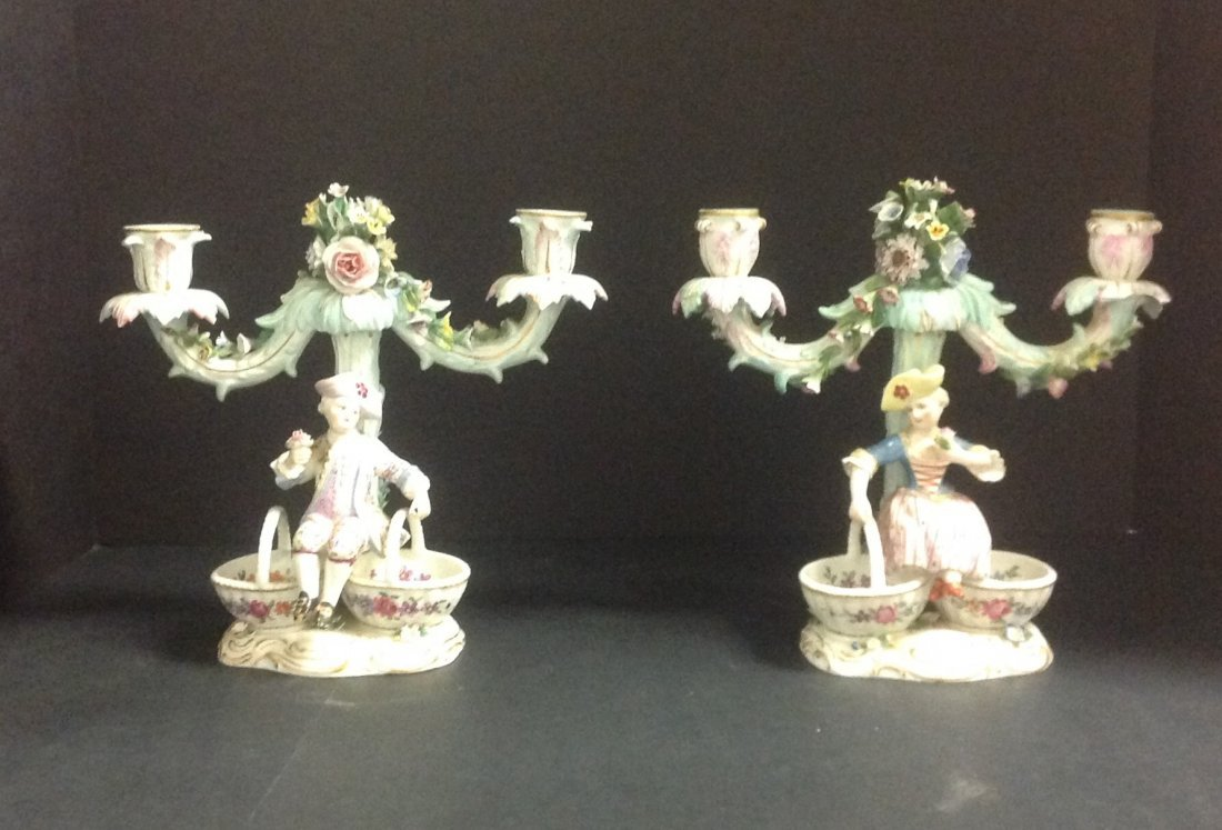 Pair of Antique Meissen Figural Porcelain Candelabra