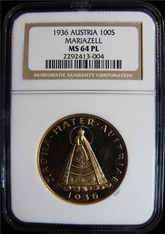 Austria: Republic gold 100 Schilling 1936, KM2857, PL62