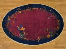 Antique Chinese Art Deco Full Pile Oval Handmade Rug