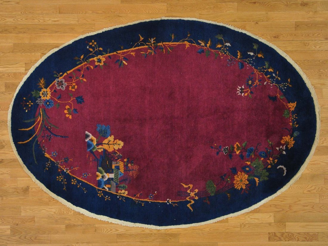 Antique Chinese Art Deco Full Pile Oval Handmade Rug