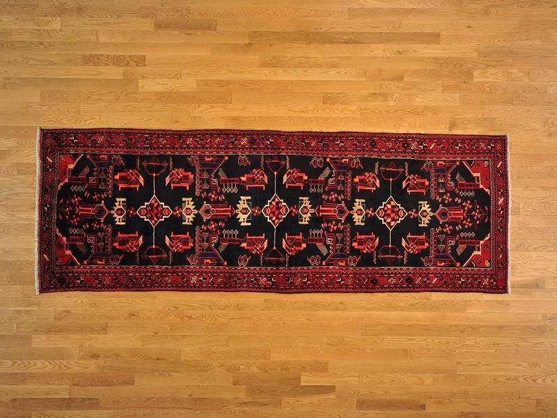 Persian Hamadan Wide Runner Hand Knotted Rug