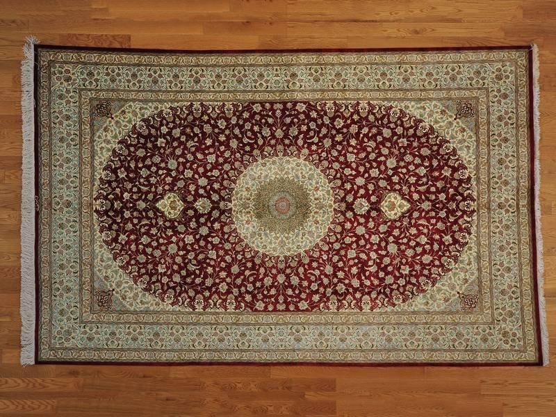 Persian Qum 600 kpsi Signed Pure Silk Rug