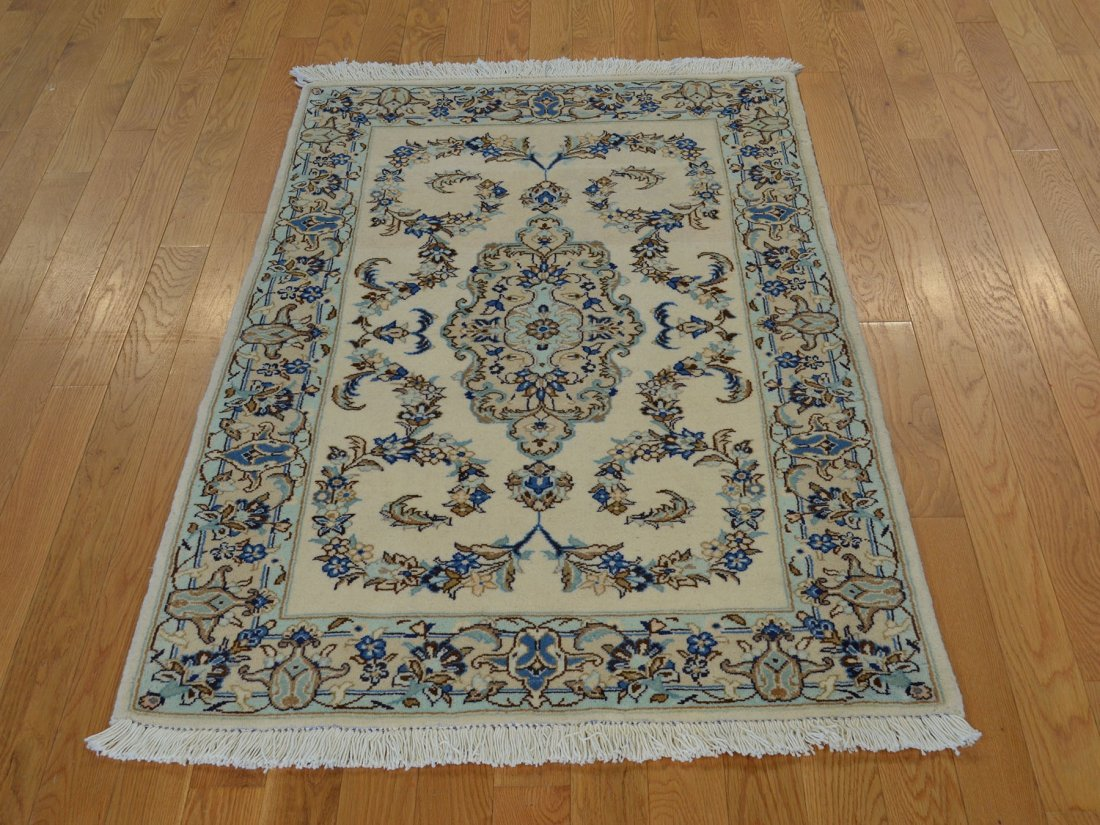 Wool and Silk Persian Kashan Hand Knotted Rug