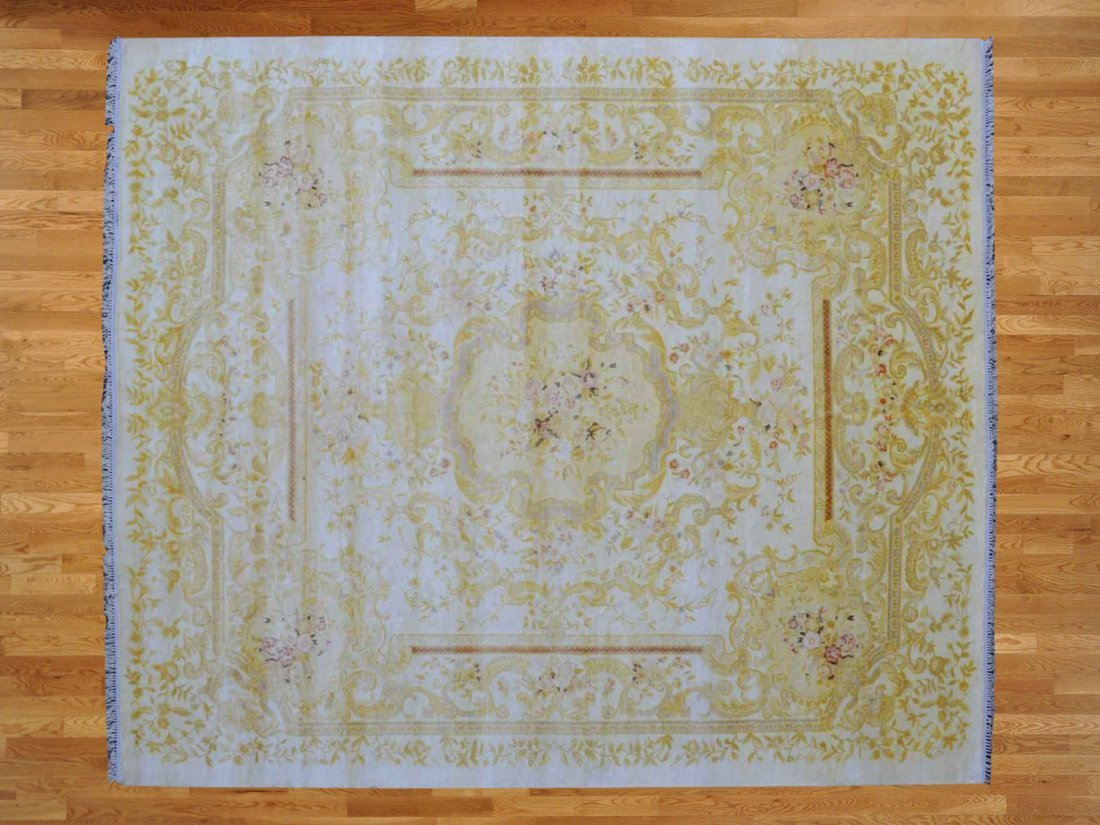 Area Rug Hand Knotted Silken With Aubusson Design
