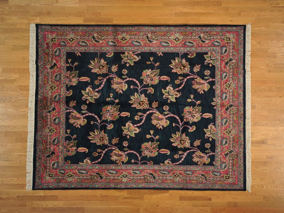 Floral Design Forest Green Agra Handmade Rug 100% Wool