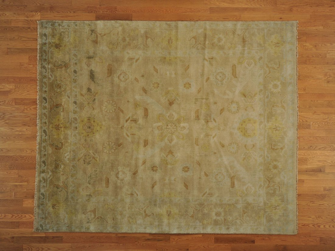 Taupe Oushak Washed Out Hand Knotted Oriental Rug