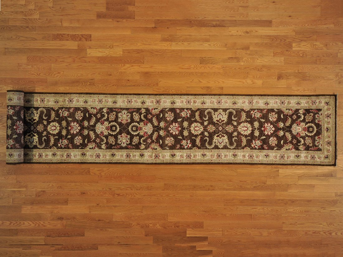 Chocolate Brown Peshawar XL Runner Hand Knotted Rug