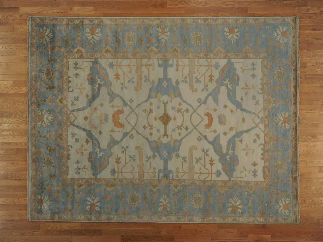 Hand Knotted Oushak Oriental Rug Washed Out 100% Wool