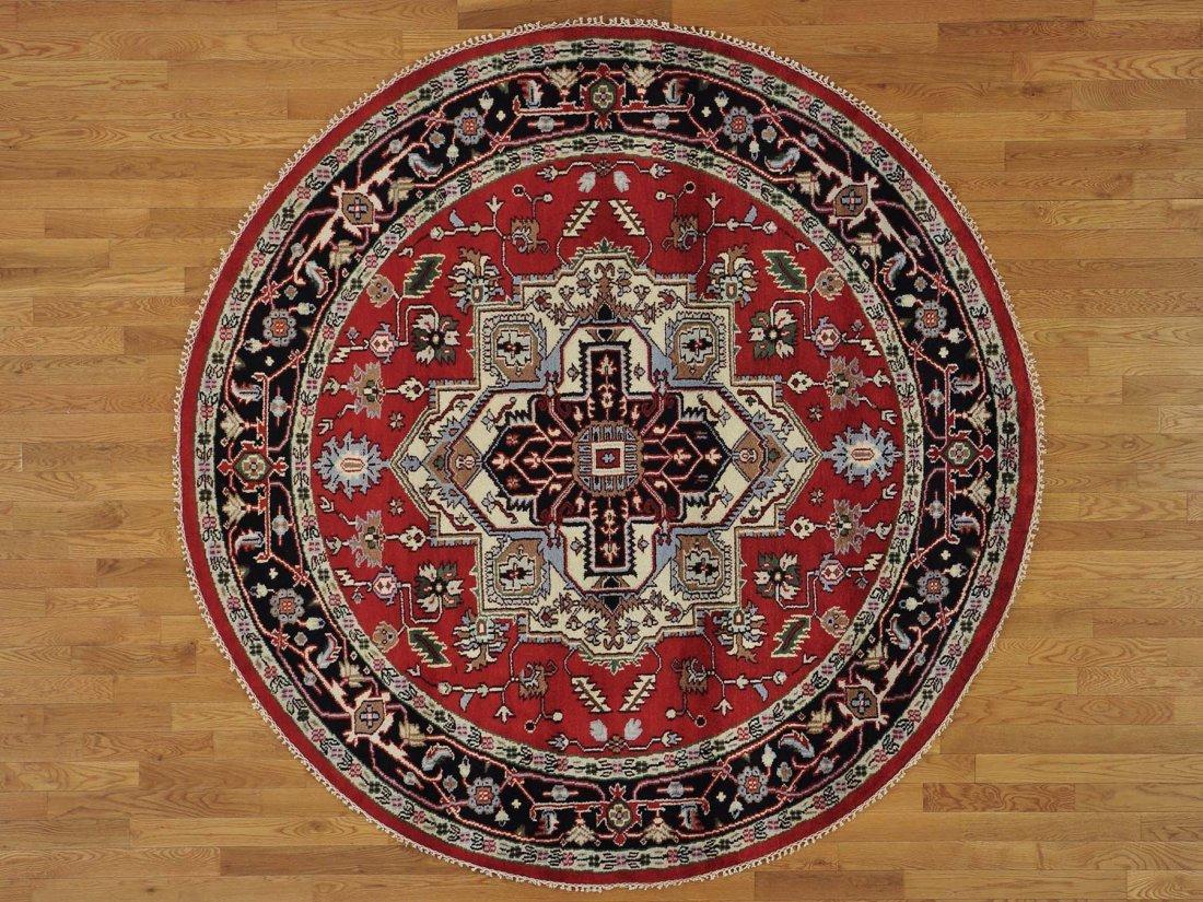 Round Tribal Design Serapi Heriz Handmade Oriental Rug