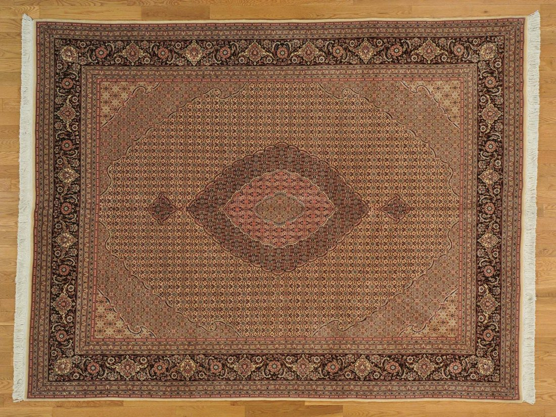 Tabriz Mahi Oriental Rug Handmade Wool and Silk