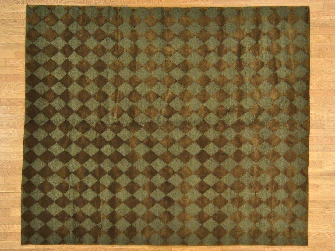 Modern Nepali Cut and Loop Handmade Oriental Rug