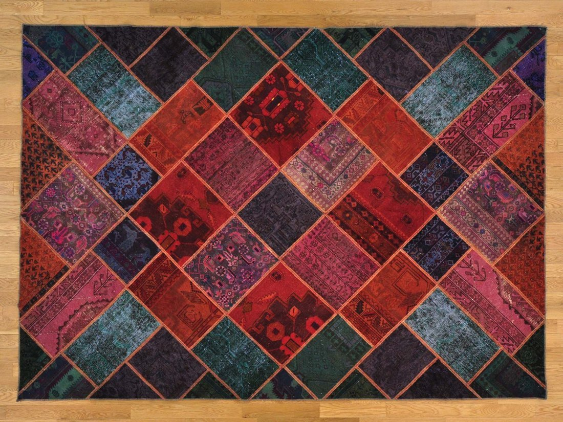 Patchwork Overdyed Hand Knotted Oriental Rug 100% Wool
