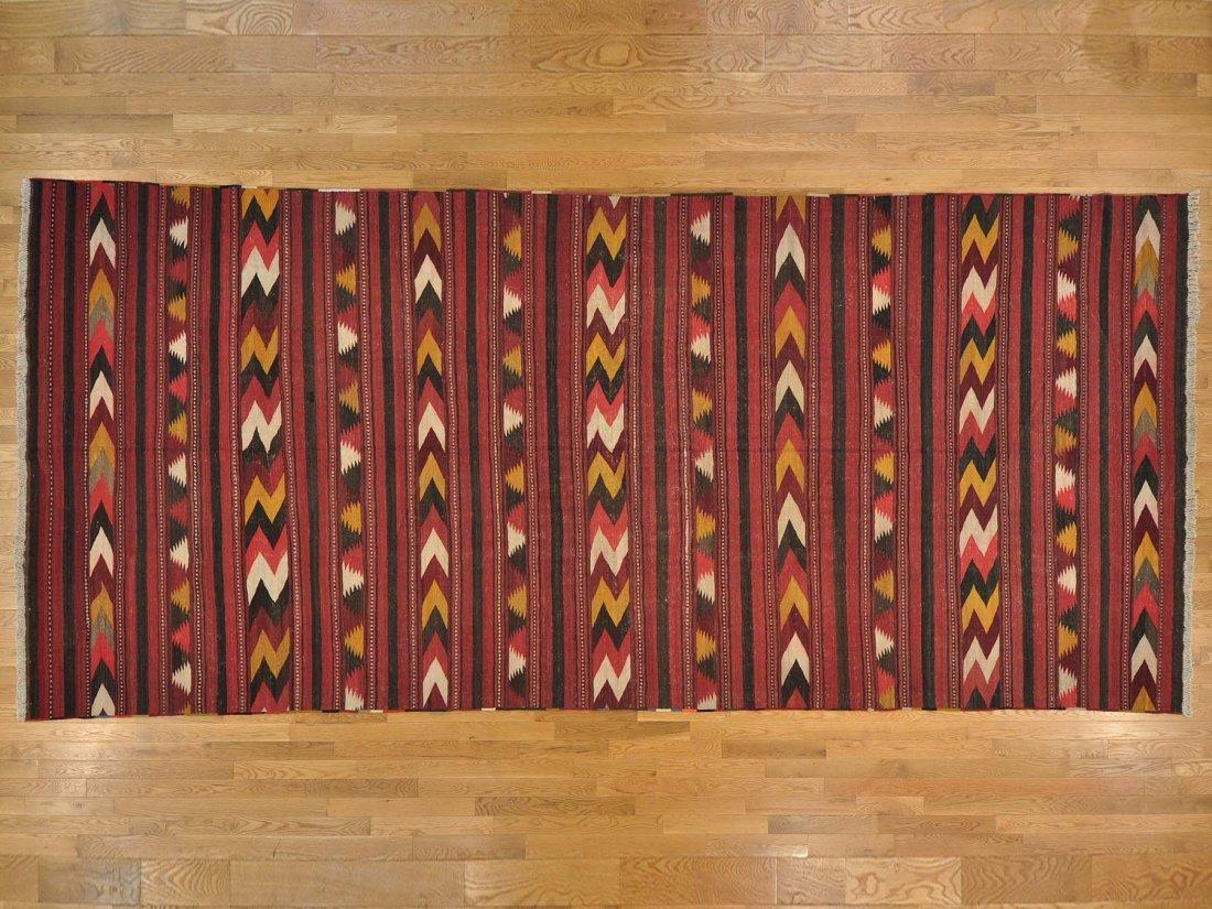 Gallery Size Old Persian Qashqai Kilim Handmade Rug