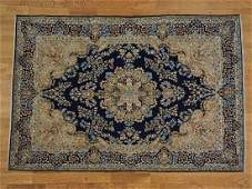 Navy Blue Persian Kerman Hand Knotted Oriental Rug