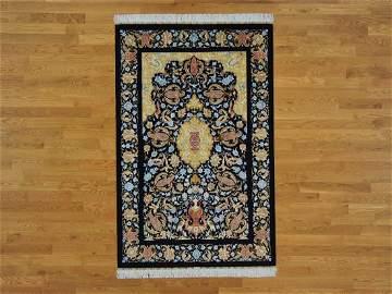 100% Silk Signed Esfahan Prayer Design Oriental Rug